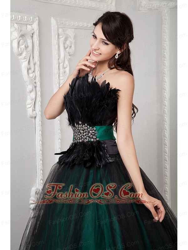 Black and Green Ball Gown Cute Quinceanera Dress Strapless Tulle ...