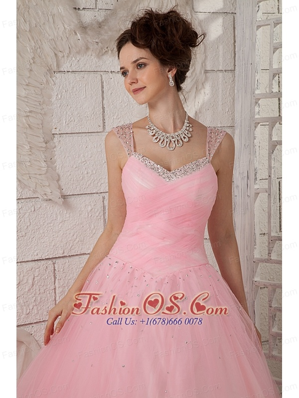 Brand New Pink Ball Gown Straps 15 Quinceanea Dress Tulle Beading Floor-length