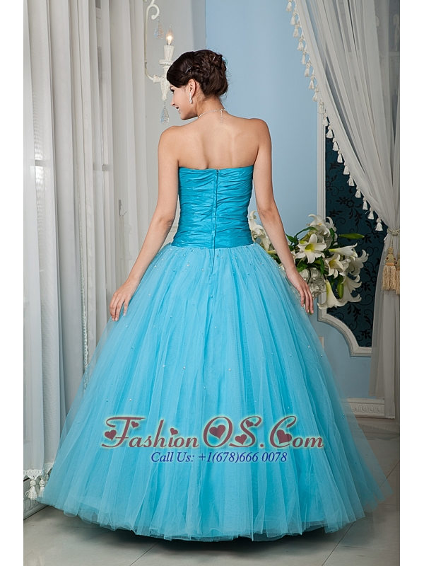 Custom Made Aqua 15 Quinceanera Dress A-line / Princess Sweetheart Tulle Beading Floor-length