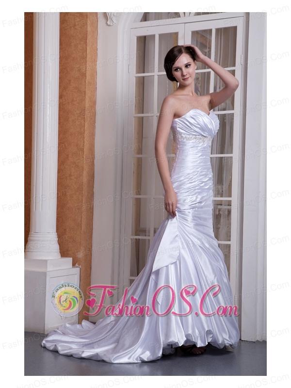 Custom Made Column Sweetheart Wedding Dress Taffeta Appliques and Ruch Court Train