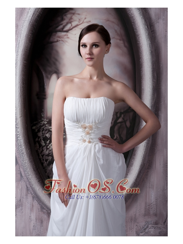 Custom Made Empire Strapless Sweep Train Appliques Chiffon Wedding Dress