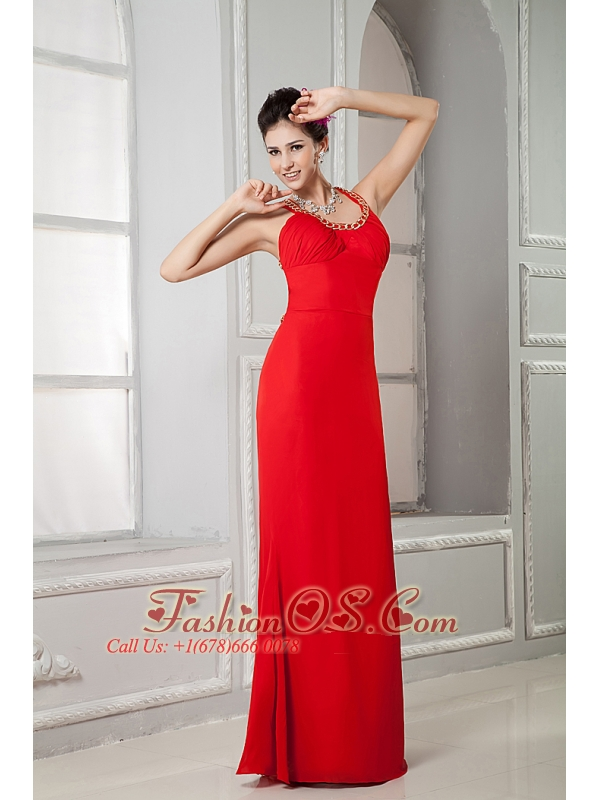 Custom Made Red Prom Dress Column Scoop Floor-length Chiffon Beading