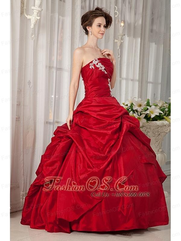 Custom Made Wine Red Ball Gown Quinceanera Dress Strapless Taffeta Appliques Floor-length