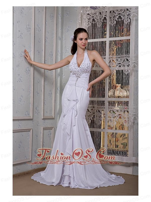 Customize Mermaid Halter Wedding Dress Chiffon Beading Brush Train