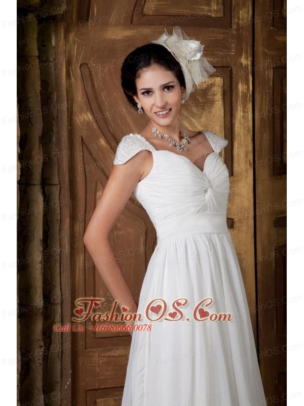 Elegant Empire Sweetheart Wedding Dress Chiffon Beading Brush Train