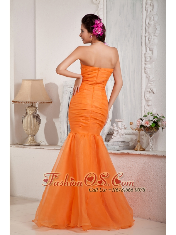 Fashionable Orange Prom Dress Mermaid Sweetheart Organza Beading Floor-length