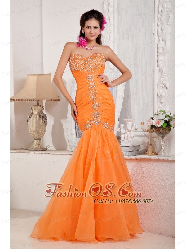 Fashionable Orange Prom Dress Mermaid Sweetheart Organza Beading