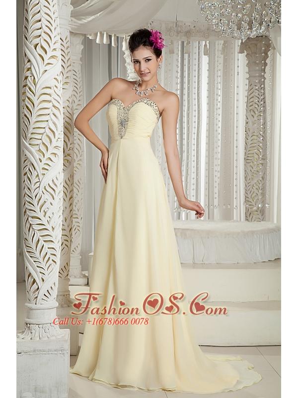 Light Yellow 2013 Prom Dress Empire Sweetheart Chiffon Beading Brush ...
