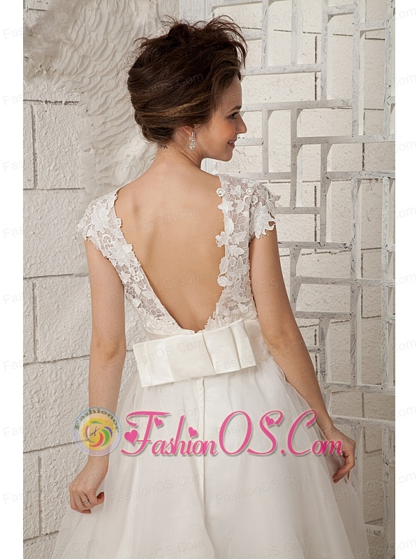 Lovely A-line Scoop Short Wedding Dress Organza Lace Tea-length