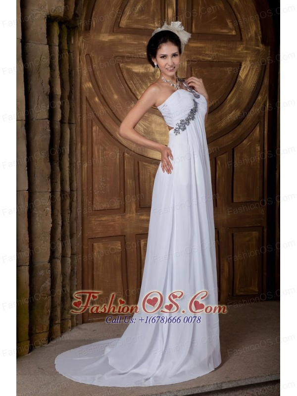 Lovely Empire One Shoulder Wedding Dress Chiffon Appliques Brush Train