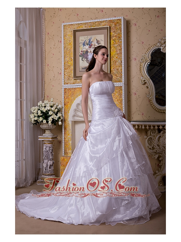 Modest A-line Strapless Court Train Taffeta and Organza Hand Made Flower Wedding Dress