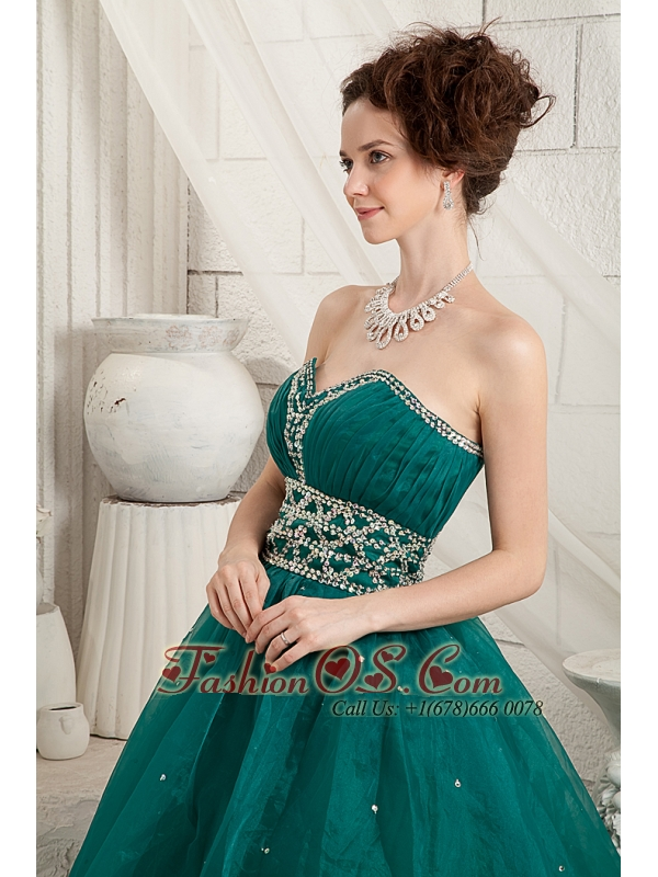 Modest Green A-line Quinceanera Dress Sweetheart Organza Beading Floor-length