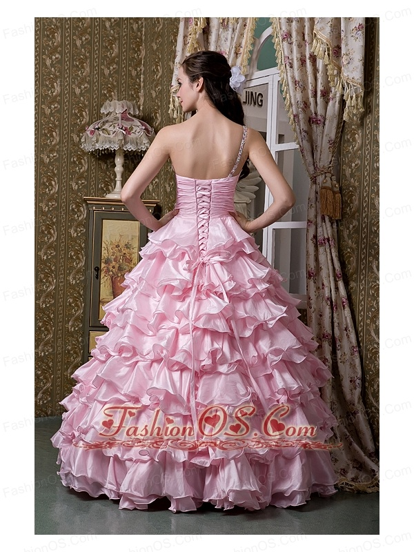 New Baby Pink A-line One Shoulder 15 Quinceanea Dress Elastic Woven Satin Beading Ruffled Layers Floor-length