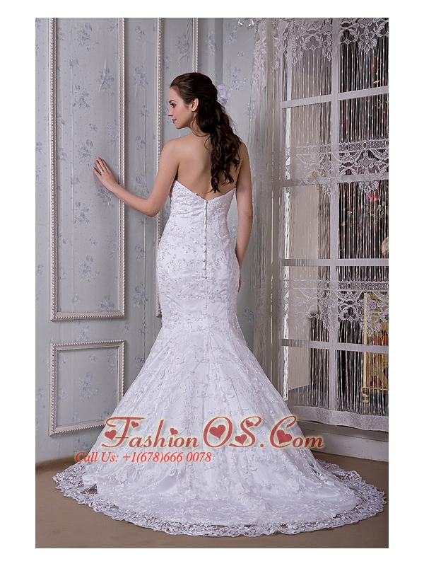 Perfect Mermaid Strapless Wedding Dress Taffeta and Lace Court Train
