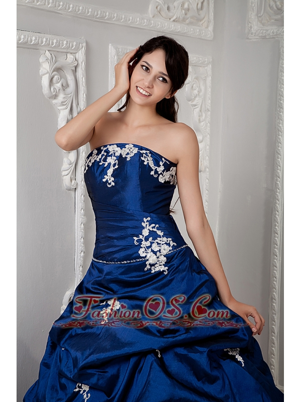 Perfect Royal Blue Ball Gown Strapless 15 Quinceanea Dress Taffeta Appliques Floor-length