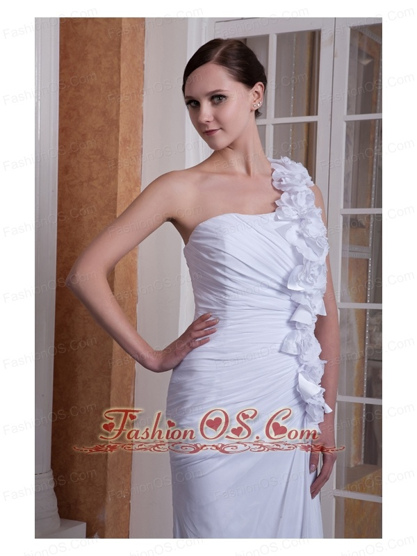 Pretty Column One Shoulder Wedding Dress Hand Made Flower Brush Train Chiffon