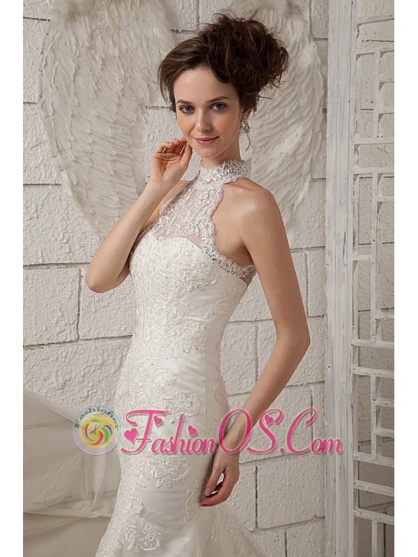 Customize Mermaid Wedding Dress High-neck Brush Train Lace Appliques