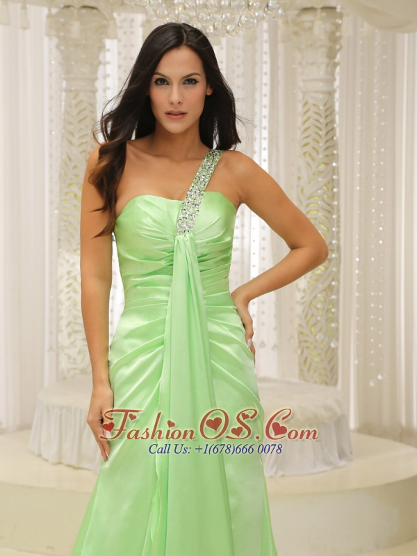 Beaded Decorate One Shoulder Ruched Bodice For Yellow Green 2013 Plus Size Prom Dress