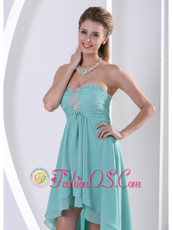 Custom Made High-low Prom Dress With Sweetheart Turquoise Beading and Ruch For Graduation