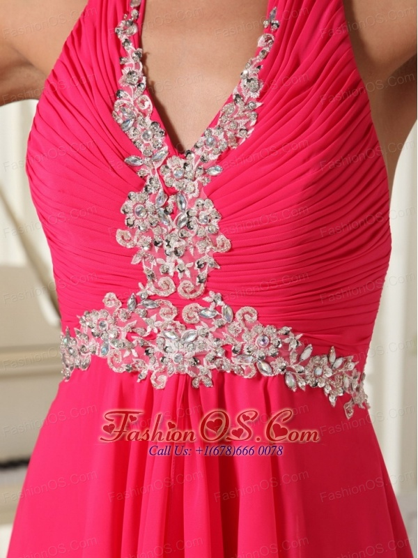 Empire Coral Red Chiffon Halter Waist Appliques With Zipper-up Prom Dress