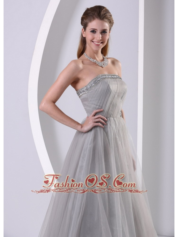 Grey Tulle A Line Strapless Beaded Simple Plus Size Prom Dress With