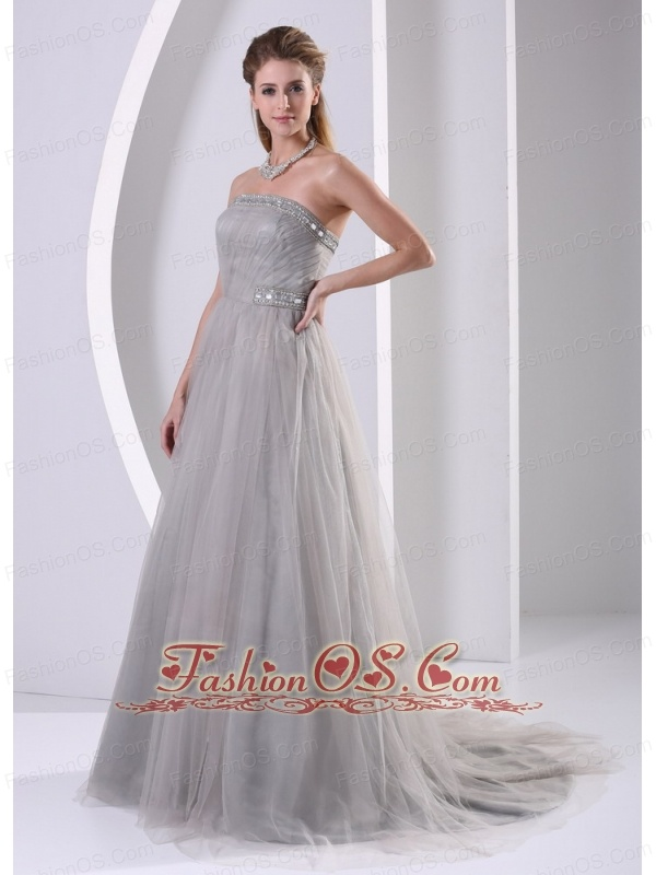 Grey Tulle A-line Strapless Beaded Simple Plus Size Prom Dress With ...