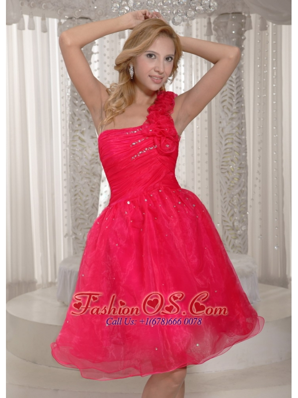 Hand Made Flowers Coral Red One Shoulder Plus Size Prom Dress Organza With Ruch Bodice