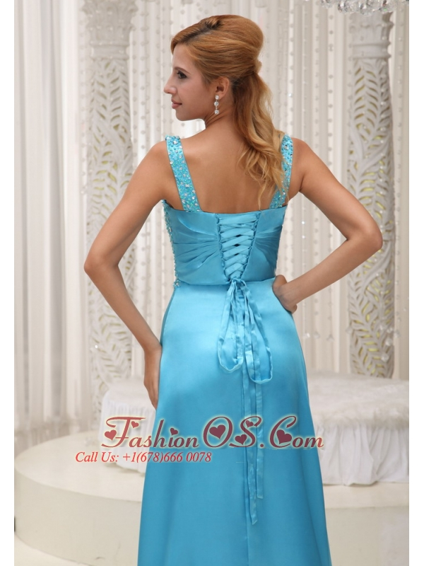 High Slit Aqua Blue Prom / Evening Dress For 2013 Straps and Beaded Decorate Up Bodice Gown