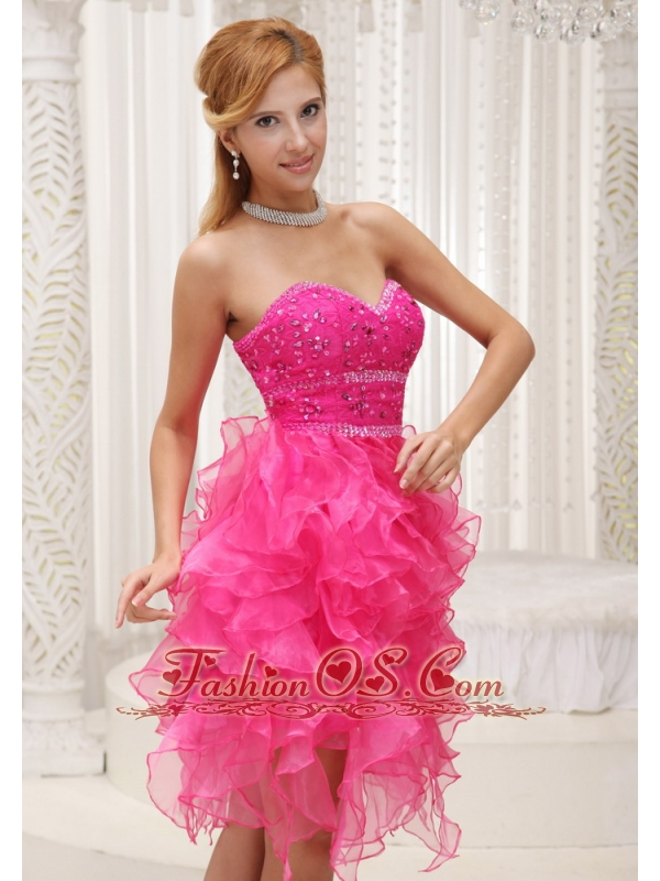 Hot Pink A-line Prom / Cocktail Dress For 2013 Beaded Decorate ...