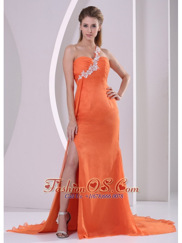 Orange Red One Shoulder High Slit Court Train 2013 Plus Size Prom ...