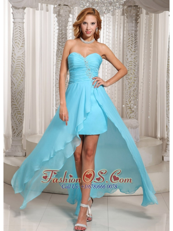 Wholesale Aqua Blue High-low Sweetheart Prom Dress For Evening ...