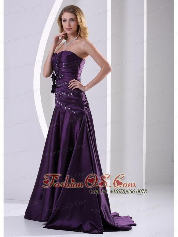 A-line Hand Made Flowers Beading and Ruch Prom Graduation Dress Eggplant Purple Taffeta