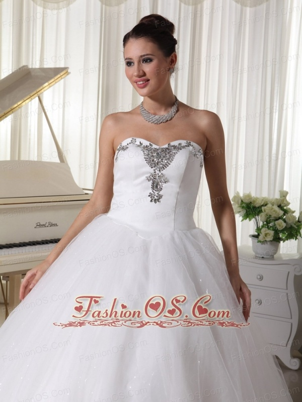 A-line Sweetheart Beaded Satin and Tulle Wedding Dress For Customize In Florida