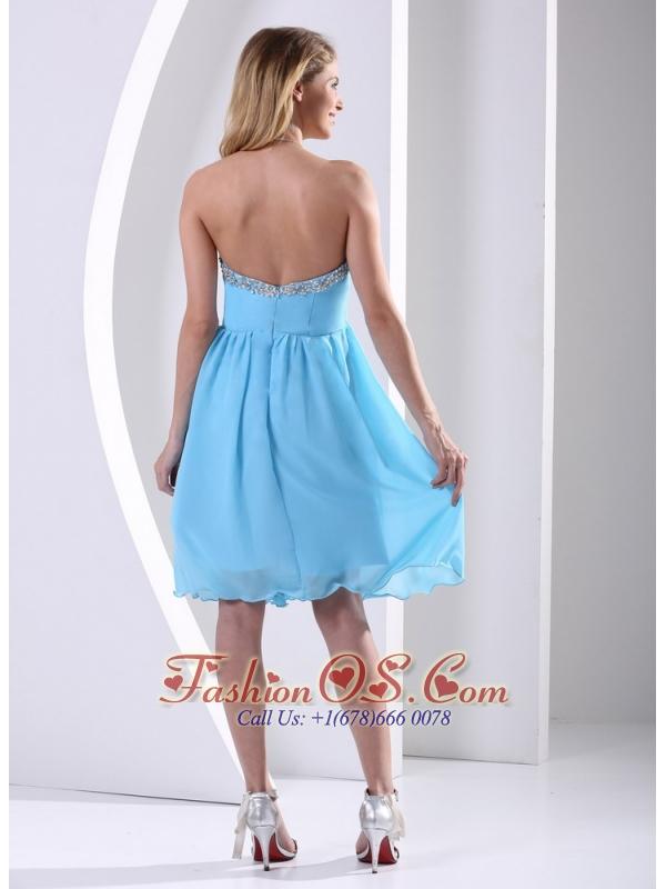 Aqua Blue Chiffon Sweetheart Beaded 2013 Modest Dress A-line Knee-length