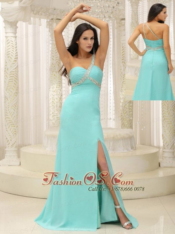 Beaded Decorate One Shoulder Ruched Bodice High Slit For Prom Dress Custom Made