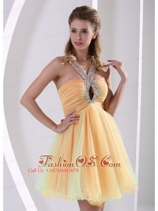 Beaded Decorate Straps Ruched Bodice Cute Prom Dress Colorful Organza