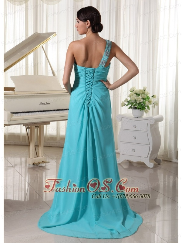 Beaded One Shoulder Turqupise Blue Prom Dress With High Slit Brush Train Chiffon