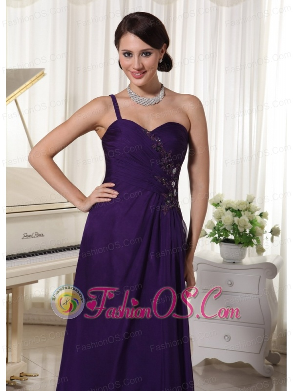 Custom Made Dark Purple Chiffon One Shoulder Prom Evening Dress Appliques With Beading Bust Floor-length