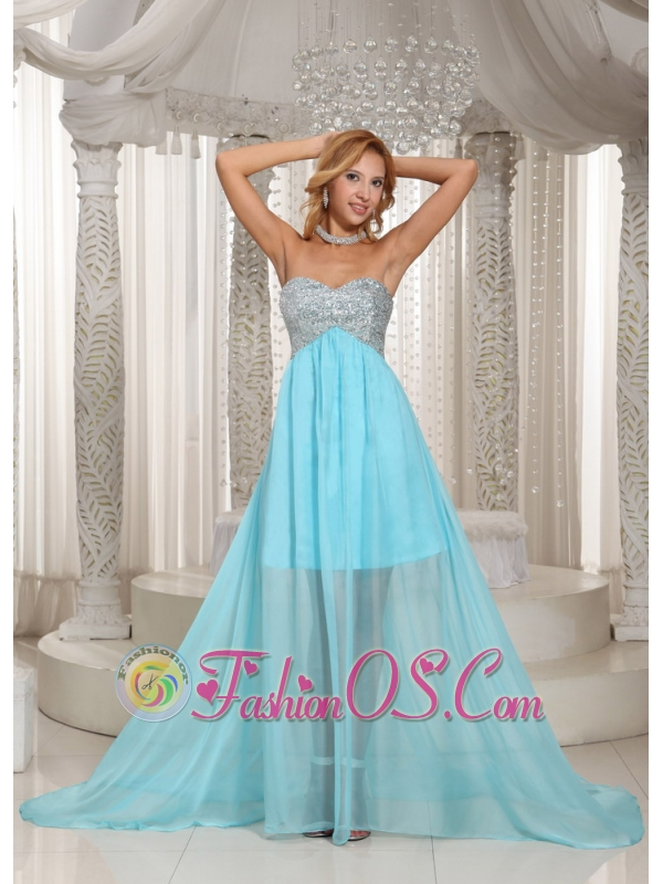 Custom Made Design Own Prom Dress With Aqua Blue Sweetheart Beaded ...