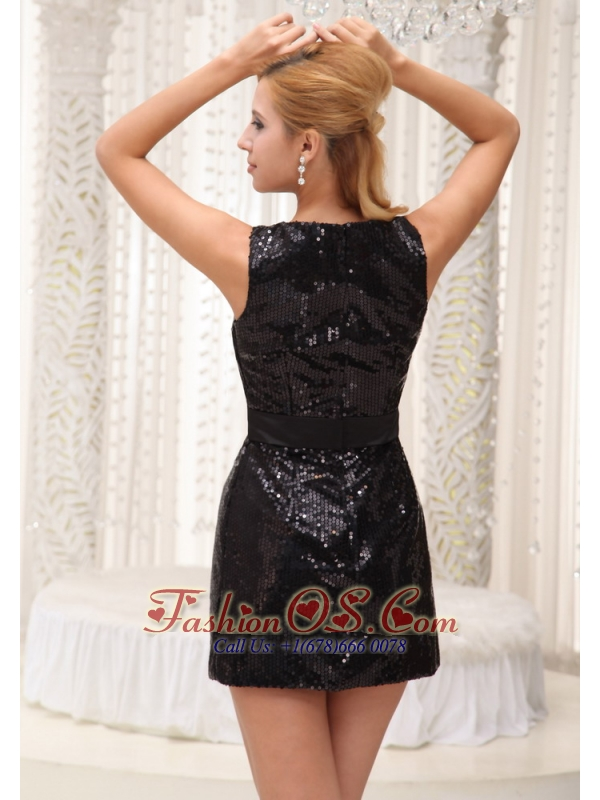 Custom Made Paillette Over Skirt With Bowknot Scoop Mini-length For Prom / Homecoming Dress 2013