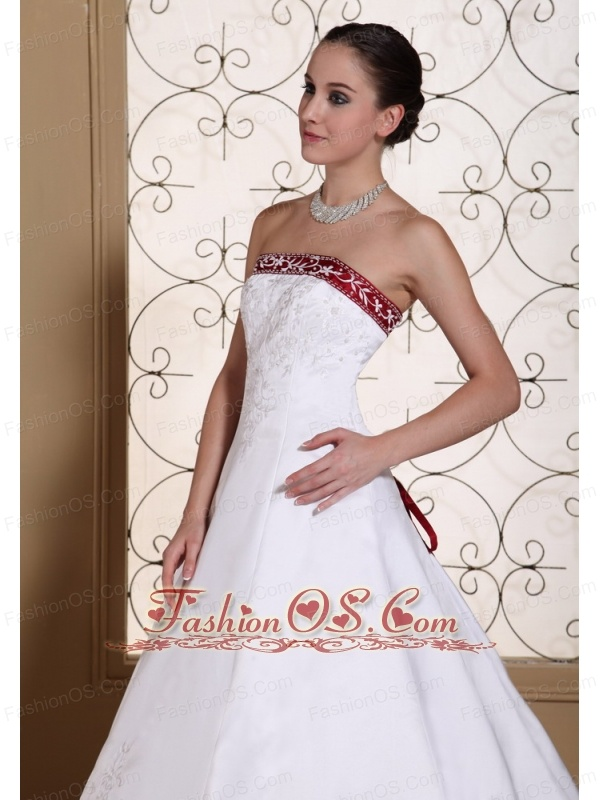 Embroidery In Satin Modest Chapel Train For 2013 Wedding Dress