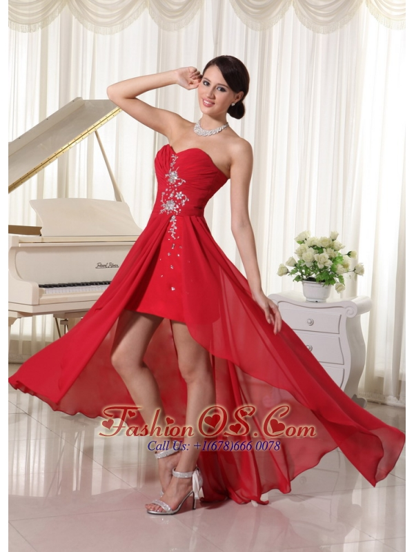 High-low Beaded Sweetheart Chiffon Prom / Homecoming Dress Red Ruch