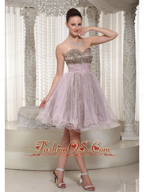 Knee-length Sweetheart Leopard and Organza Prom Dress 2013