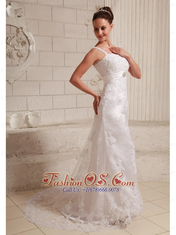 Luxurious Straps Column Lace and Satin Beach Wedding Dress With Beading Brush Train