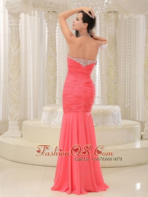 Mermaid Sweetheart For Coral Red Prom Dress Beaded Decorate Bust