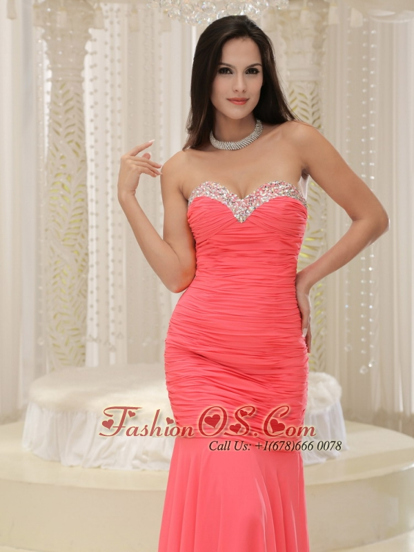 Mermaid Sweetheart For Coral Red Prom Dress Beaded Decorate Bust ...