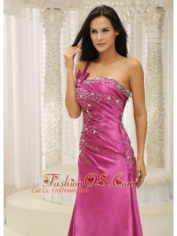 One Shoulder Beaded Decorate Bodice Satin For Prom Dress In ...