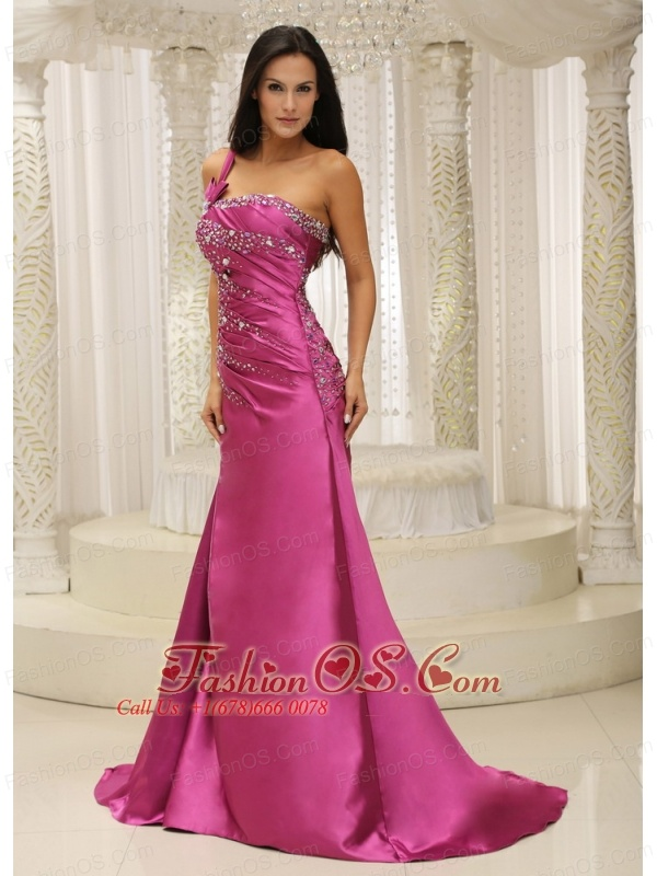 Shoulder Beaded Decorate Bodice Satin For Prom Dress In California