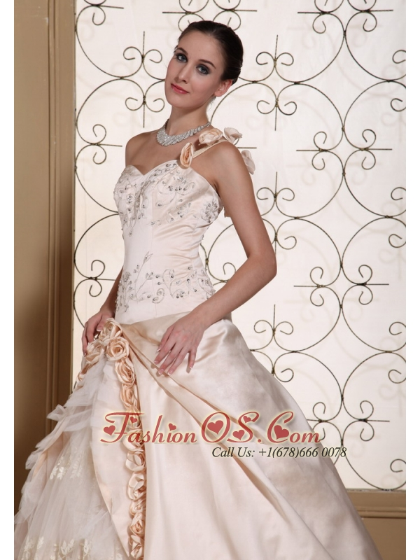 One Shoulder Champagne Ball Gown Wedding Dress For 2013 Hand Made Flowers and Embroidery On Satin