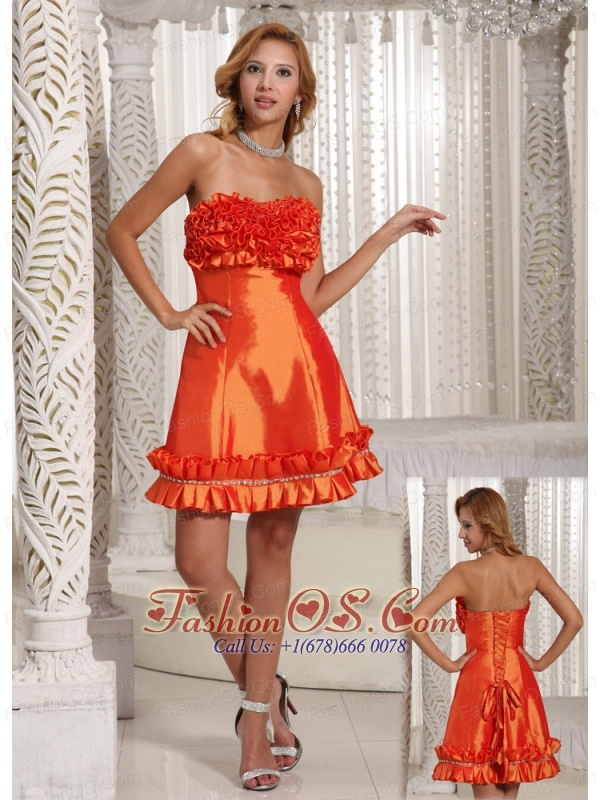 Orange Red Hand Made Flowers A-line Custom Made Prom Dress With Taffeta